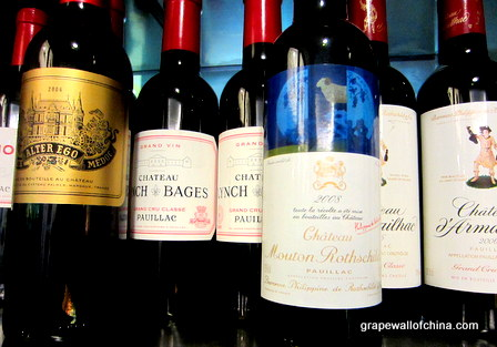 half-bottles of chateau palmer alter ego lynch bages and mouton rothschild at enoteca wine shop beijing china