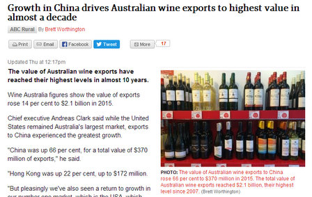 china grape press wine australia export figures 2015 in abc rural