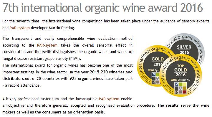 seventh international organic wine awards 2016 screen shot