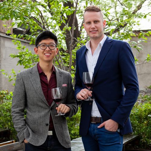 Ross Tan and Nick van Leeuwen of Australian Natural organic biodynamic wine importers in China.jpg