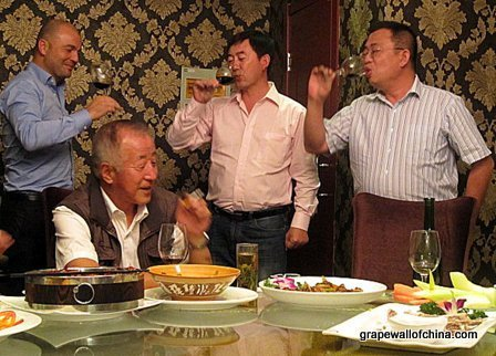 michel and nathael of radoux china with li demei and mr wong in ningxia china
